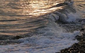 Картинка море, волна, вечер, прибой, Akela White
