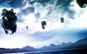 Картинка небо, камни, планеты