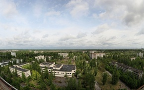 Картинка Припять, деревья, квартиры, город призрак, небо, крыша