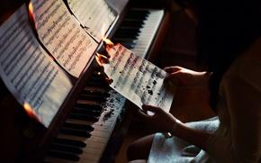 Картинка девушка, ноты, музыка, ситуация, рояль