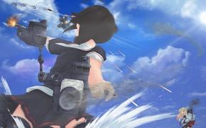 Картинка небо, девушка, облака, оружие, океан, аниме, арт, выстрелы, kantai collection, yuudachi, shigure