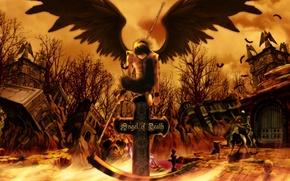 Картинка небо, облака, деревья, оружие, лошадь, череп, крылья, крест, аниме, перья, арт, скелет, коса, руины, парень, …