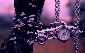 Картинка машина, дерево, часы, цепочка, автомобиль