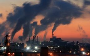 Картинка ночь, трубы, город, дым, фабрика
