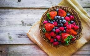 Картинка ягоды, малина, черника, клубника, корзинка, fresh, berries