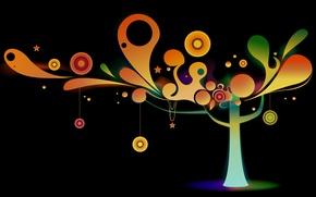 Обои украшения, круги, дерево, вектор, цветное