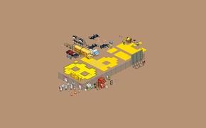 Обои надпись, графика, минимализм, пиксели, 8-bit, проекция, pixel art
