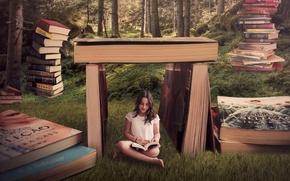 Картинка девушка, фон, книги