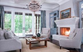 Картинка дизайн, стол, диван, огонь, картина, кресло, люстра, камин, классика, гостиная