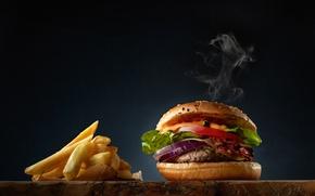 Обои мясо, салат, картофель фри, бургер