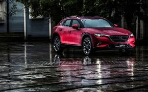 Картинка дорога, дождь, Mazda, Rain, мазда, кроссовер, бордовая, CX-4