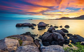 Картинка море, небо, камни, рассвет, утро