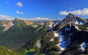 Картинка снег, деревья, горы, озеро, USA, США, небо.