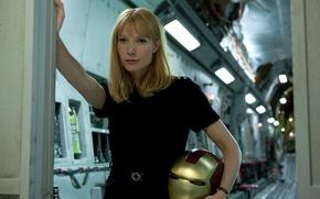 Картинка фантастика, блондинка, шлем, Железный человек 2, Iron Man 2, комикс, Gwyneth Paltrow, Гвинет Пэлтроу, Pepper …