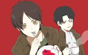 Картинка эмоции, чашка, пирожное, вилка, парни, двое, красный фон, fan art, shingeki no kyojin, eren yeager, …