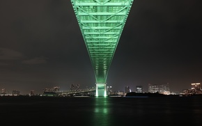 Картинка мост, город, огни, Япония, Токио, залив, Tokyo, Japan, Rainbow Bridge