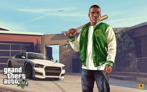 Картинка машина, дом, арт, gta, Grand Theft Auto V, Rockstar Games, Franklin, Франклин, Клинтон, Dodge Charger …