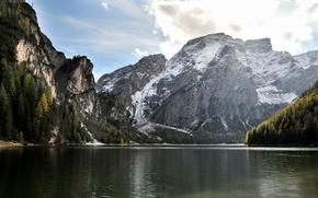 Картинка вода, пейзаж, горы, природа, ели, landscape, mountains