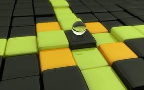 Обои шар, кубики, Ступени