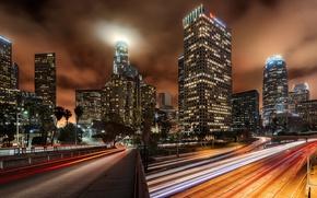 Картинка ночь, город, огни, дороги, дома, небоскребы, Los-Angeles