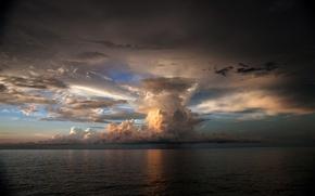 Обои море, гроза, небо, рябь, облако, туча, мрачно