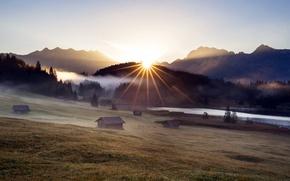 Обои поле, туман, домики