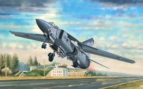 Картинка war, art, airplane, painting, jet, Mikoyan-Gurevich MiG-23