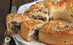Картинка пирог, орехи, кунжут