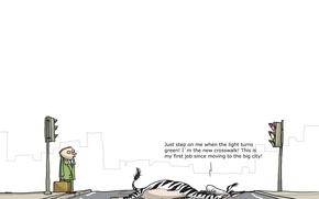 Обои юмор, карикатура, Wulffmorgenthaler, переход, зебра