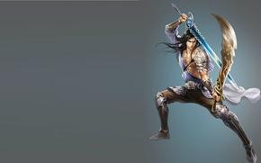 Картинка фентези, оружие, меч, воин, арт, парень, навык, сабеля
