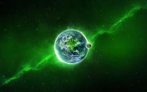 Обои Земля, Зелёный, Планета, Космос, Млечный Путь, Свечение, Звёзды