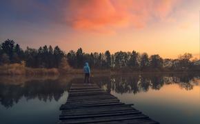 Обои twilight, trees, sunset, clouds, lake, man, dusk, reflection, pier, lakeshore