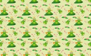 Картинка фон, болото, лягушка, сказка, текстура, арт, стрела, цветочек, детская, царевна лягушка