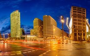 Картинка огни, здания, Германия, фонари, Берлин