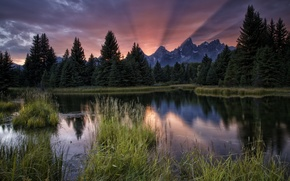 Картинка горы, река, лес, закат