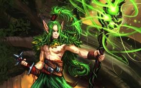 Картинка дерево, магия, эльф, арт, посох, Парень, Wizard, MoshYong