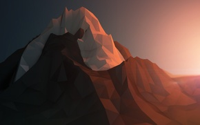 Картинка лед, снег, горы, рендеринг, скалы, минимализм, геометрия