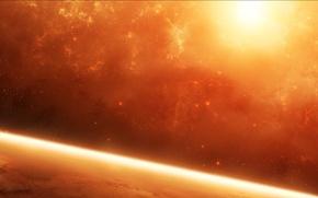 Обои солнце, Космос, красная, планета, звезды, туманность, атмосфера