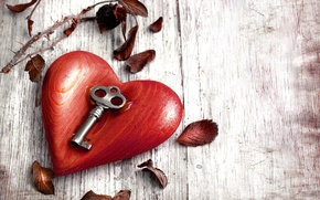 Картинка листья, металл, дерево, сердце, ключ