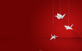 Картинка Origami, Red Background, Thread