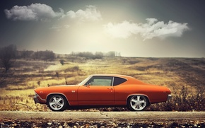 Обои chevrolet, chevelle, ss, 1969, orange, sideview, sun, clouds