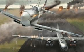 Картинка war, art, airplane, Spitfire, painting, ww2, attack, Heinkel He 177