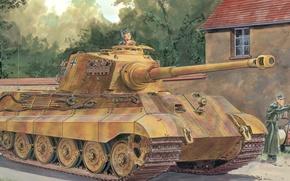 Картинка war, art, ww2, german tank, panzerkampfwagen, panzer tank, tiger tank, panzer Vll