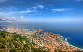 Обои Монте-карло, Монако, природа, city, город, порт, море, небосклон, горизонт, пейзаж, простор