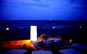 Обои свечи, океан, романтика, contrast, beach, пляж, romantic, ночь, night, candlelight, hogh, ужин, dining