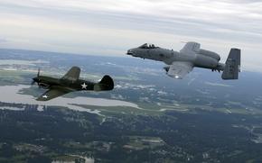 Картинка полет, земля, истребитель, штурмовик, A-10, Tomahawk, Thunderbolt II, Curtiss P-40
