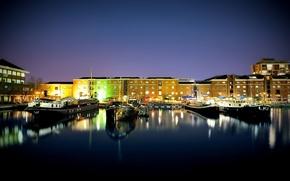Картинка вода, свет, ночь, огни, города, лодки