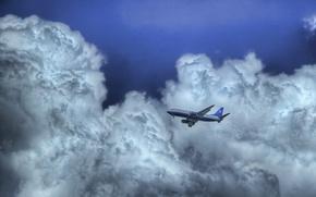Картинка небо, облака, Самолет