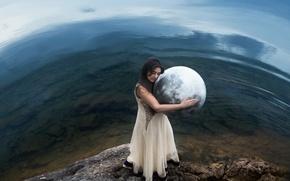 Картинка девушка, земля, шар