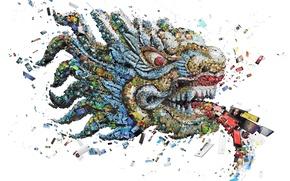 Картинка мозаика, дракон, технологии, смартфоны